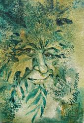 Art: Smiling Summer Greenman by Artist Cathy  (Kate) Johnson