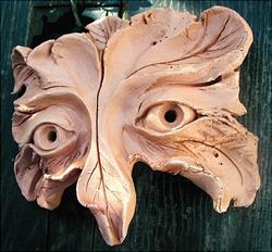Art: GreenMan Owl Mask by Artist Cathy  (Kate) Johnson