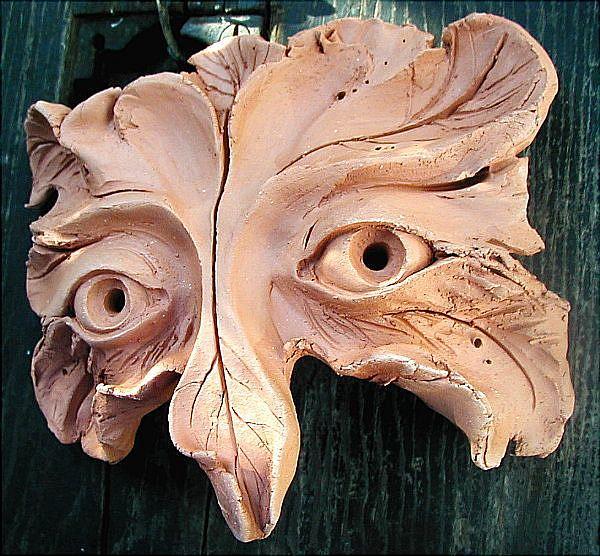 Art: GreenMan Owl Mask by Artist Cathy  (Kate) Johnson