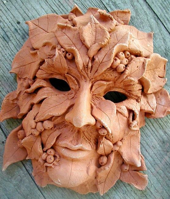 Art: SOLD Greenman Mask, wall sculpture by Artist Cathy  (Kate) Johnson