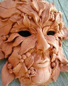 Detail Image for art SOLD Greenman Mask, wall sculpture