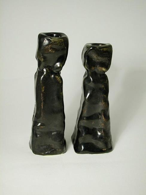 Art: Earthy Candlestick Holders by Artist Staci Rose