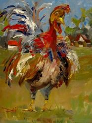 Art: Red Neck Rooster by Artist Delilah Smith