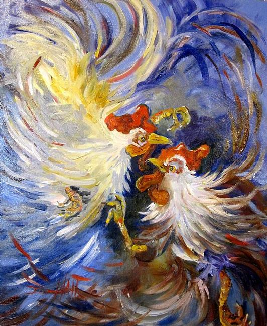 Art: Cock Fight by Artist Delilah Smith