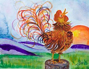Art: Sunrise Rooster-sold by Artist Delilah Smith