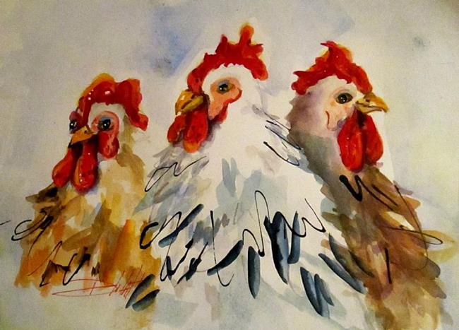 Art: Three Fat Hens-SOLD by Artist Delilah Smith