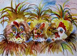 Art: Three Fat Hens by Artist Delilah Smith