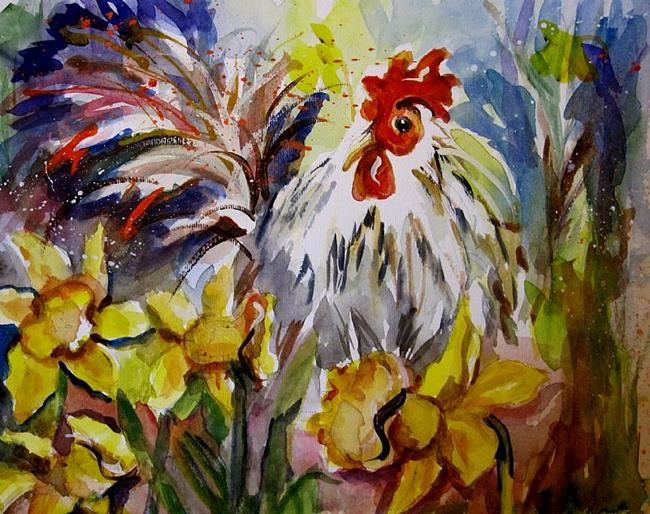 Art: Rooster in the Daffodils by Artist Delilah Smith