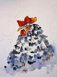 Art: Black and White Rooster by Artist Delilah Smith