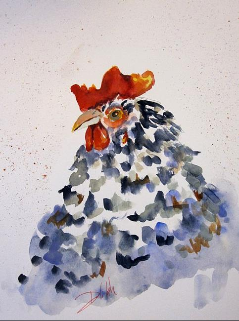 Art: Black and White Rooster-sold by Artist Delilah Smith