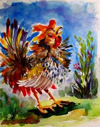 Art: Crowing Rooster (631x800).jpg by Artist Delilah Smith