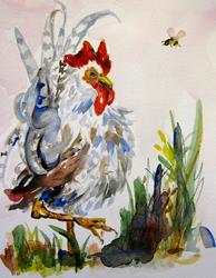 Art: Just Leaving Rooster by Artist Delilah Smith
