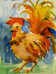 Art: Rooster with Colorful Tail Feathers by Artist Delilah Smith