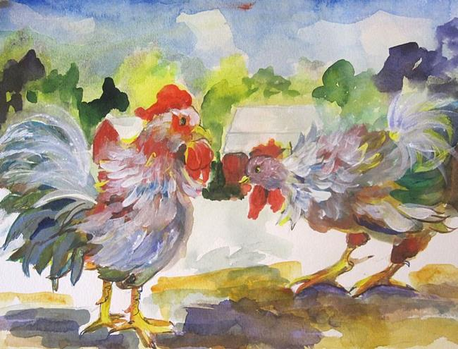 Art: Two Roosters by Artist Delilah Smith