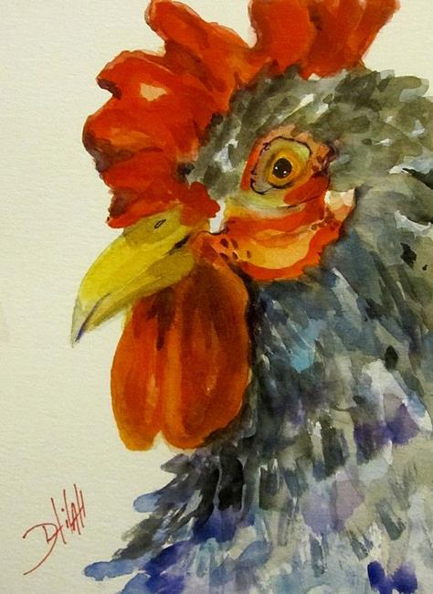 Art: Rooster in Gray by Artist Delilah Smith