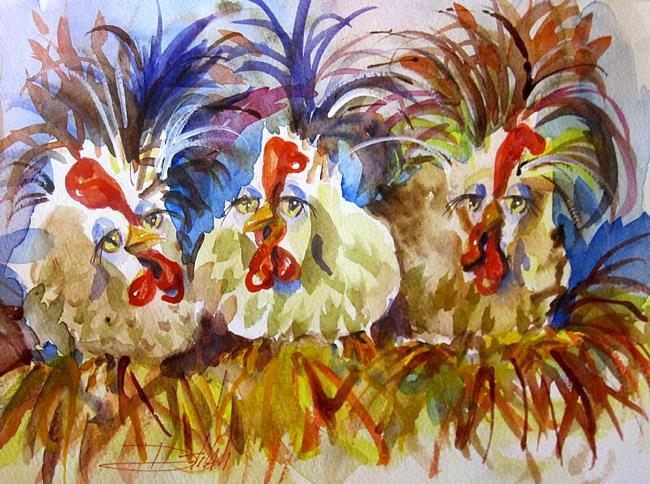 Art: Laying Hens by Artist Delilah Smith