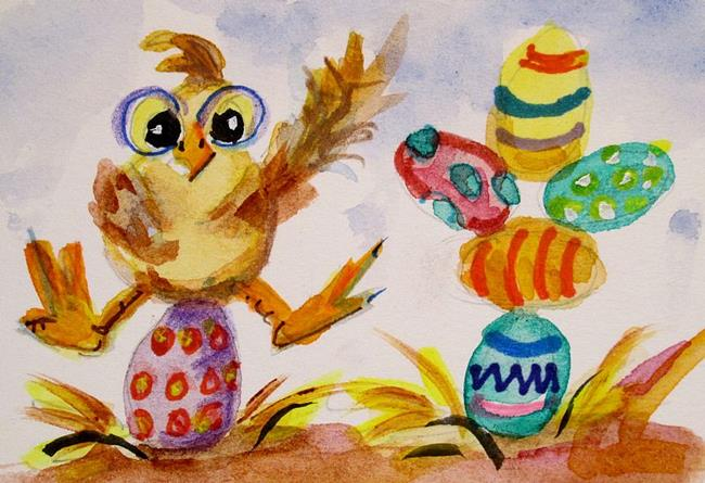 Art: Chick and Easter Eggs by Artist Delilah Smith
