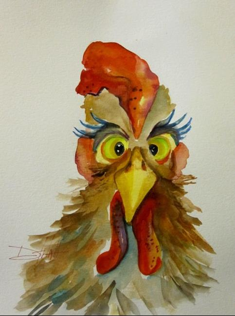 Art: Crossed Eyed Rooster by Artist Delilah Smith