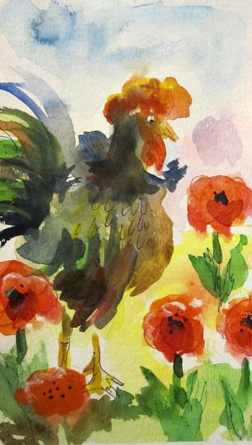 Art: Early Morning Rooster-sold by Artist Delilah Smith