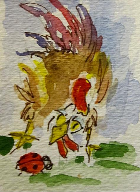 Art: Rooster and Lady Bug aceo by Artist Delilah Smith
