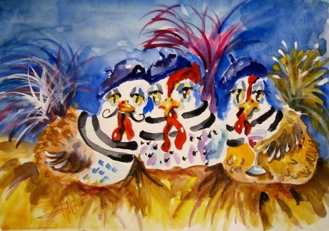 Art: Three French Hens by Artist Delilah Smith