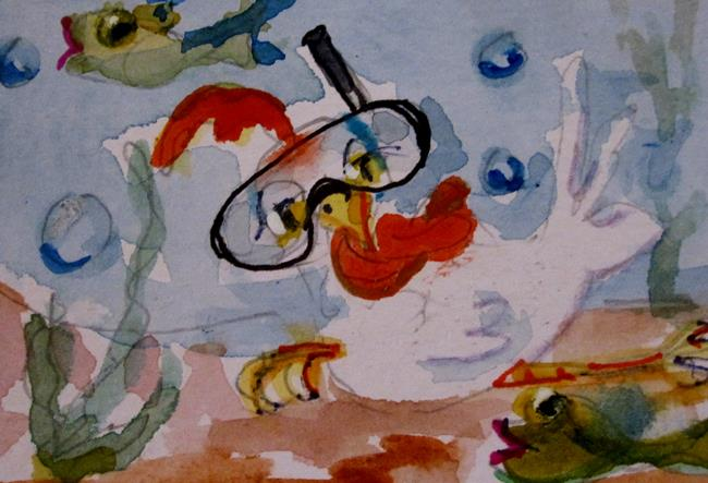 Art: Snorkeling Chicken Aceo by Artist Delilah Smith