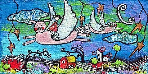 Art: When Adults Sleep Pigs Do Fly by Artist Juli Cady Ryan