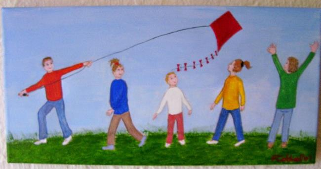 Art: Kite Day (SOLD) by Artist Fran Caldwell