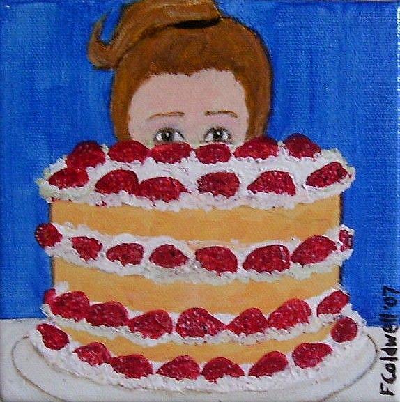 Art: Strawberry Gateau (Sold) by Artist Fran Caldwell
