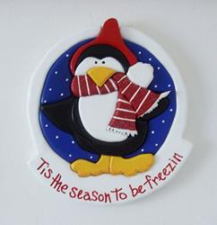 Art: Christmas Penguin Intarsia Art by Artist Gina Stern