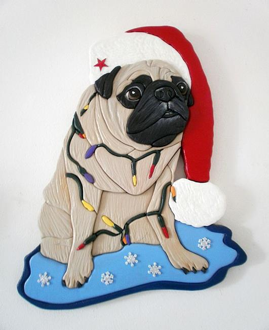 Art: Christmas Pug..Sparkle Original Painted Intarsia Art by Artist Gina Stern