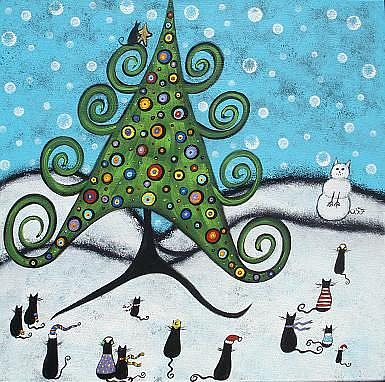 Art: Black Cats' Christmas by Artist Juli Cady Ryan