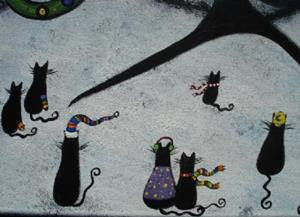 Detail Image for art Black Cats' Christmas
