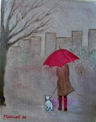 Art: Winter Walk With Buddy (Sold) by Artist Fran Caldwell