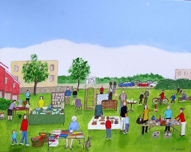Art: Neighborhood Yard Sale (Sold) by Artist Fran Caldwell