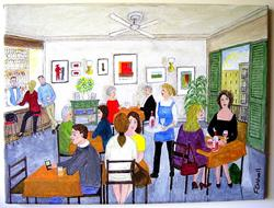 Art: Cafe (Sold) by Artist Fran Caldwell