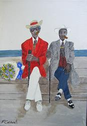 Art: Two Gentlemen of Havana - Print only by Artist Fran Caldwell