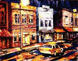 Art: City Night, Street Light by Artist Diane Millsap