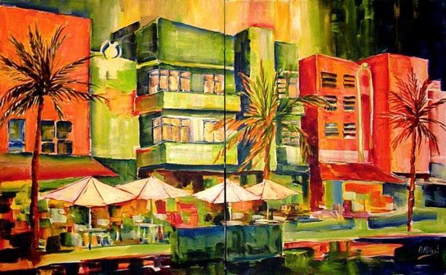 Art: South Beach at Night by Artist Diane Millsap