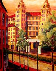 Art: City at Sunset by Artist Diane Millsap