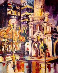 Art: Chicago at Night by Artist Diane Millsap