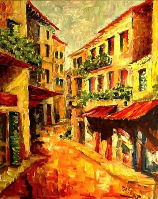 Art: Village Street - SOLD by Artist Diane Millsap
