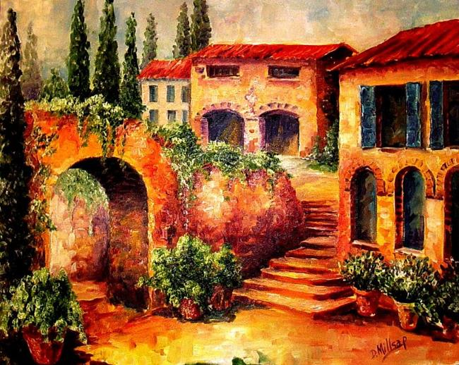 Art: Village in Tuscany - SOLD by Artist Diane Millsap