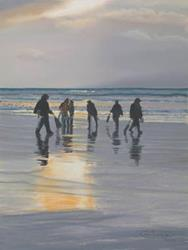 Art: Clamdiggers At Sunset by Artist Carol Thompson