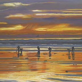Art: Clamming And Fishing At Sunset by Artist Carol Thompson