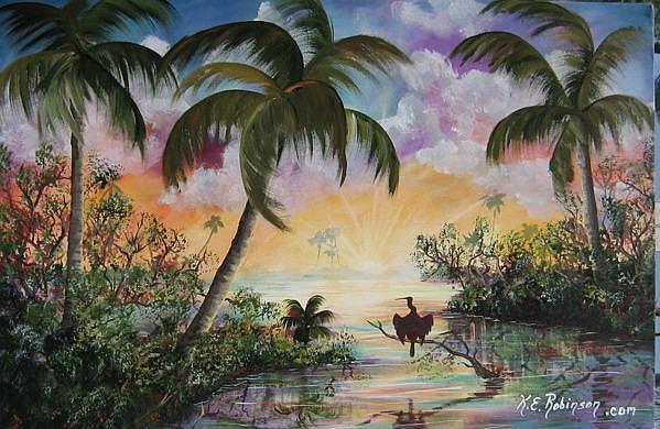 Art: FLORIDA PAINTING -ANHINGA  by Artist Ke Robinson