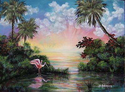 Art: FLorida  ROSEATE SPOONBILL -Sold by Artist Ke Robinson