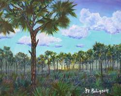 Art: FOGGY PINES - sold by Artist Ke Robinson