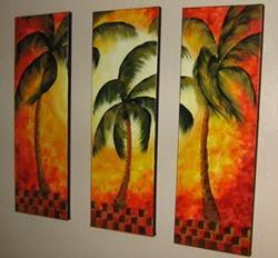 Art: Orange Palm Triptych -sold by Artist Ke Robinson