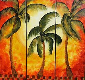 Detail Image for art Orange Palm Triptych -sold